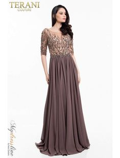 d33bef947b56 Terani Couture 1822M7659 bateau neck chiffon special occasion gown with  half-length sleeves. features