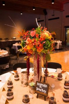 Rustic Fall Inspired Centerpieces //  Fleurs de France // Bryan Grayson Photography // http://www.theknot.com/submit-your-wedding/photo/d1669826-10ab-4d7b-acd3-e44807557de4/Justine-and-Matts-Wedding-10-5-13
