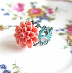 Mint Pink Floral Ring by Jewelsalem, $3.00