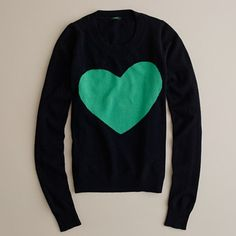 Heart me sweater from J Crew.  So easy to slap a <3 on a sweater.  Ppl are silly.