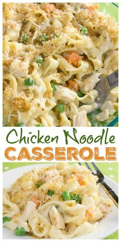 This creamy chicken noodle casserole is a satisfying dinner your family will love! #potluck #casserole #chickennoodle #comfortfood