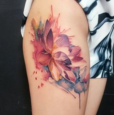 watercolor lotus flower tattoo                                                                                                                                                     More