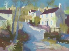 Richard Tuff - Cottages by Lamorna Wink Drawing Artist, Painting & Drawing, Small Paintings, Landscape Paintings, Watercolor Bird, Watercolor Paintings, West Cornwall, Beautiful Landscapes, Acrylics