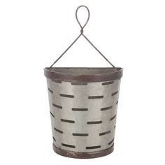 Galvanized Metal Olive Bucket Wall Decor