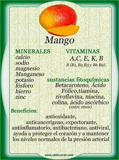 Mango: minerales, vitaminas, sustancias fitoquímicas y sus propiedades