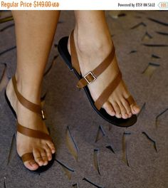 Brown Leather Flat Sandals / Strappy by EllenRubenBagsShoes
