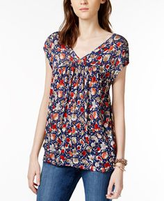 Lucky Brand Short-Sleeve Floral-Print Top