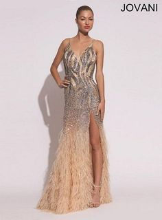 Jovani 73028 V Neck Sequin Feather Gown