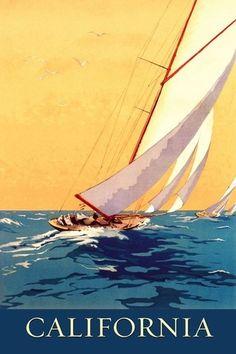 """Etrange similitude avec l'affiche de la Baule! Décidément, la Bretagne inspire beaucoup certains : Il suffit de retourner l'affiche, d'estomper la côte,d'enlever la signature en bas à droite, de rogner en haut """" chemin de fer de Paris à Orléans, d'enlever """" la Baule, plage du Soleil """" et hop, l'affiche de Charles Alo , quitte la Bretagne pour la Californie !"""