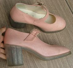 pink mary janes with glitter transparent heels- GIVE THEM TO ME.