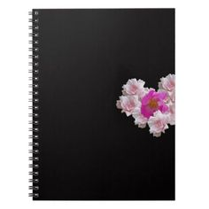 Many Heart Shaped Roses on Black Background Notebook - valentines day gifts love couple diy personalize for her for him girlfriend boyfriend