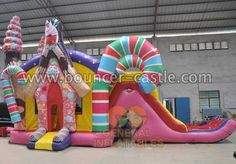 GB-335 Candy house combo Size meter:8.8mLx4mWx5.2mH Size feet: 29ftLx13ftWx17ftH #candyhouse #inflatablecombo #bouncehouse