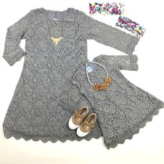 Charlene lace dress in grey (mommy & me)