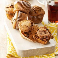 Cappuccino Muffins Recipe -These are my favorite muffins to serve with a cup of coffee or a tall glass of cold milk. Not only are they great for breakfast, they make a tasty dessert or midnight snack. I get lots of recipe requests whenever I serve them. The espresso spread is also super on a bagel. —Janice Schulz, Racine, Wisconsin