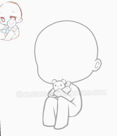 Chibi Girl Drawings, Cute Kawaii Drawings, Anime Drawings Sketches, Chibi Sketch, Anime Drawing Styles, Art Poses, Drawing Reference Poses, Drawing Base, Manga