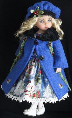 """COAT,SMOCKED DRESS&SHOES SET MADE FOR EFFNER LITTLE DARLING 13""""&SAME SIZE DOLLS"""