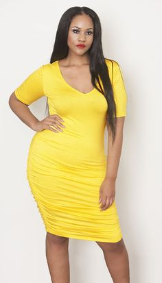 customplus Ruched Bright Yellow Dress - Plus Size Fashion