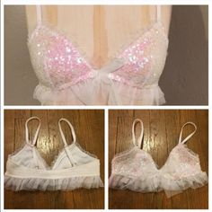 VS Sequin Tulle Bra! Amazing bralette from VS! Single hook at center in front with lively tulle bow to tie over it! Cups are fully covered in sequins! Two rows of tulle ruffles around all edges! Back is completely smocked and stretchy! The straps are fully adjustable and SO sparkly! BNWT size M! Not XS as tag shows, size just used to fit model. Victoria's Secret Intimates & Sleepwear Bras