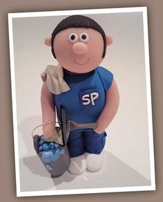 Window cleaner clay birthday cake topper