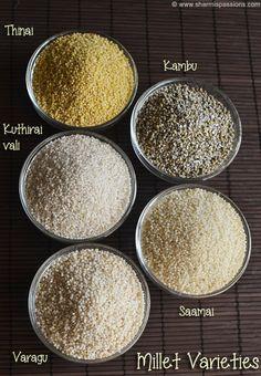 How to cook millets - Millet Types - Varagu Saamai Thinai Kuthiraivali Kambu - Sharmis Passions Vegetarian Cooking, Vegetarian Recipes, Cooking Recipes, Millet Recipe Indian, How To Cook Millet, Ragi Recipes, Beef Tenderloin Recipes, Food Vocabulary, Indian Breakfast