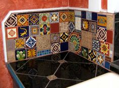 Mexican Kitchen - not exactly mosaic, but intricate tile work, and venitian plaster on the walls. This mexican kichen is integrated to a Japanese House ! that also include an italian Bathroom...