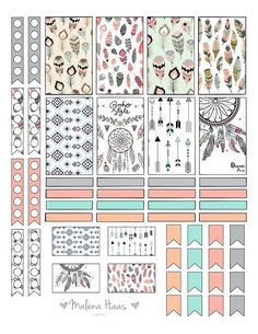 Malena Haas: ❤️FREEBIE Friday❤️ Boho Chic Planner Stickers dream catcher and feather theme with checklists, stickers, dividers and flags To Do Planner, Planner Layout, Free Planner, Planner Pages, Happy Planner, Wash Tape, Image Deco, Decoration Stickers, Printable Planner Stickers