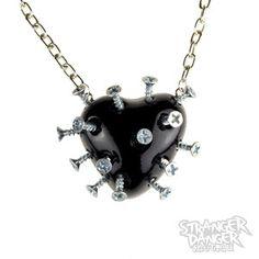Black Broken Heart Necklace With Screws (goth, jewellery, punk, emo, alternative, industrial, ndie, Rockabilly, Lolita, Cyber)