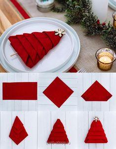 Christmas Napkin Folding, Christmas Tree Napkins, Christmas Dining Table, Christmas Table Settings, Christmas Tablescapes, Christmas Table Decorations, Paper Napkin Folding, Simple Christmas, Christmas Time