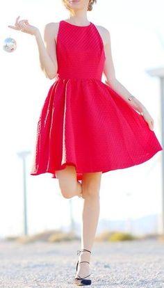 Bow Back Textured Skater Dress