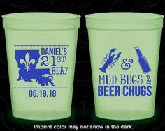 21st Birthday Glow in the Dark Cups, Fleur De Lis Birthday, Nola Birthday, Glow Birthday Party (20244)