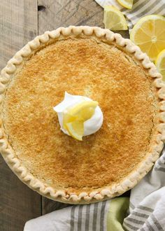 Arizona Sunshine Lemon Pie : Any easy pie you mix up in the blender! A chopped whole lemon is blended up with butter, sugar and eggs creating a custard like pie bursting with lemon flavor. Top it off with sweet whipped cream!