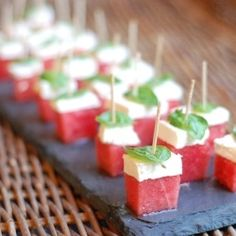 Watermelon, feta and basil appetizer bites – delicious!