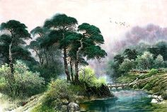 (North Korea) Pinetrees and stream by Lee Chang ). Korean brush watercolor on paper. Jungle Scene, Asian Landscape, Korean Painting, Bob Ross, North Korea, Chinese Art, Landscape Paintings, Mystic, Watercolor