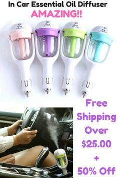 At 50% Off You Should Grab Some For Friends and Family Too! Want the healing and calming benefits of Essential Oils on the go? The In-Car Essential Oil Diffuser works as both air humidifier and aroma