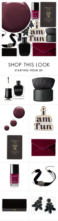 """""""Take my hand... my nails are done"""" by pastelneon ❤ liked on Polyvore featuring beauty, Deborah Lippmann, NARS Cosmetics, Topshop, ban.do, Rebecca Minkoff, Chanel, Balmain and J.Crew"""