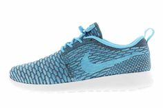 online retailer ca83d 12b90 Outlet Store Nike Roshe Run Flyknit Womens Dark Grey Clearwater Blue Black  Friday