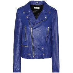 Saint Laurent Leather Biker Jacket (302.715 RUB) ❤ liked on Polyvore featuring outerwear, jackets, coats & jackets, blue, leather motorcycle jacket, leather rider jacket, biker jacket, real leather jackets and blue motorcycle jacket