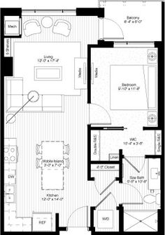 one bedroom, 726 square feet, floors 3-11, PH1 & PH2