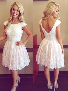 V-back short lace prom dress with pearl,Short homecoming dress with cap sleeves ,custom made,color free,fast delivery