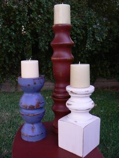 Wooded candle sticks