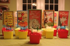 These custom party centerpieces - All Dr. Seuss books with special phrases were made for my son's 1st birthday, totally loved them!