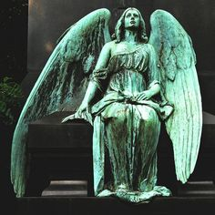 Statue in The Melaten-Friedhof (Melaten Cemetery), the central cemetery of Cologne, Germany. Cemetery Angels, Cemetery Statues, Cemetery Art, Highgate Cemetery, Angels Among Us, Angels And Demons, I Believe In Angels, Ange Demon, Angeles