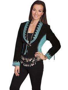 NWT Scully Women s Two Tone Boar Suede Leather Concho Closure Bolero Jacket   Scully  WesternBolero 5f79e080163
