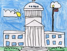 Draw the US Capitol Building – Art Projects for Kids - Kunstunterricht Classroom Art Projects, Art Classroom, Projects For Kids, Classroom Ideas, School Projects, Project Ideas, Drawing Projects, Drawing Lessons, Art Lessons