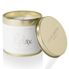 Katie Loxton 'Relax' Round Tin Soft Cotton & Jasmine Scented Candle