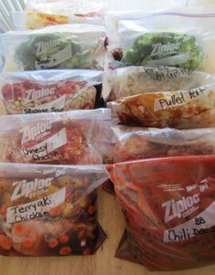 great idea -- make ahead, freezer bags of ready-to-go-into the crock pot dinners