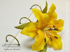 желтая лилия из фома