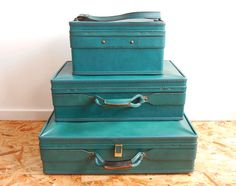 Vintage Hartmann Luggage Set 3 Piece Mint Green Excellent Condtion ...