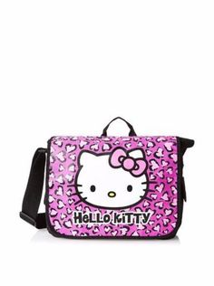 Officially Licensed Hello Kitty Messenger Bag. Features Hello Kitty image with pink bow, centered in Pink Leopard design, and Solid black back.
