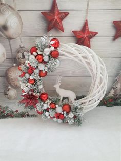 Items similar to White and red Christmas wreath, Red and silver door wreath, Deer Christmas wreath, White natural wicker wreath with decor, Holiday Wreath on Etsy Silver Christmas Decorations, Christmas Wreaths To Make, Christmas Centerpieces, Holiday Wreaths, Christmas Crafts, Christmas Tree Red And Silver, Deco Table Noel, Dollar Store Christmas, Creations